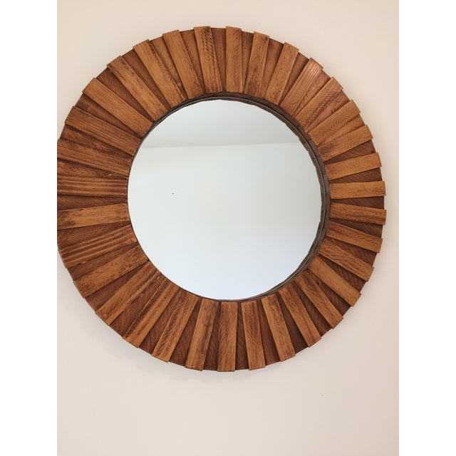 """Round Wall Mirror Teak Color 26"""" For Sale In Los Angeles - Image 6 of 11"""