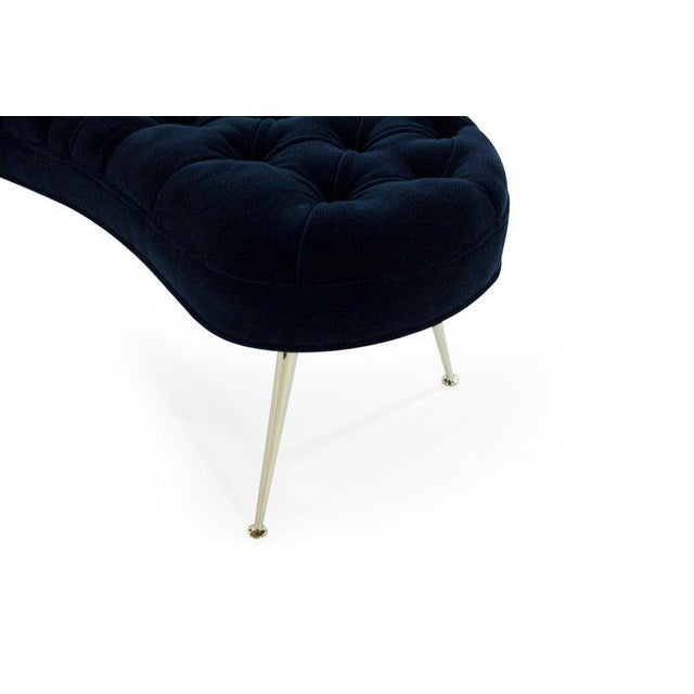 Tufted Benches in Deep Blue Mohair (Pair Available) For Sale - Image 10 of 12