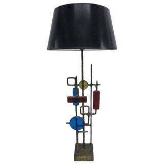 Glass and Steel Lamp by Svend Aage and Holm Sorensen For Sale