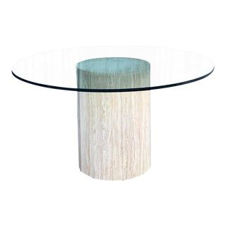 Glass & Travertine Table For Sale