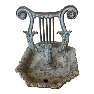 Victorian Cast Iron Lyre Form Bootscaper For Sale