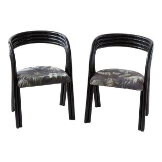 1960s Hollywood Regency Black Chairs- A Pair For Sale