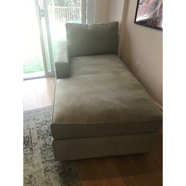 Wood Room and Board Suede Chaise Lounge For Sale - Image 7 of 10
