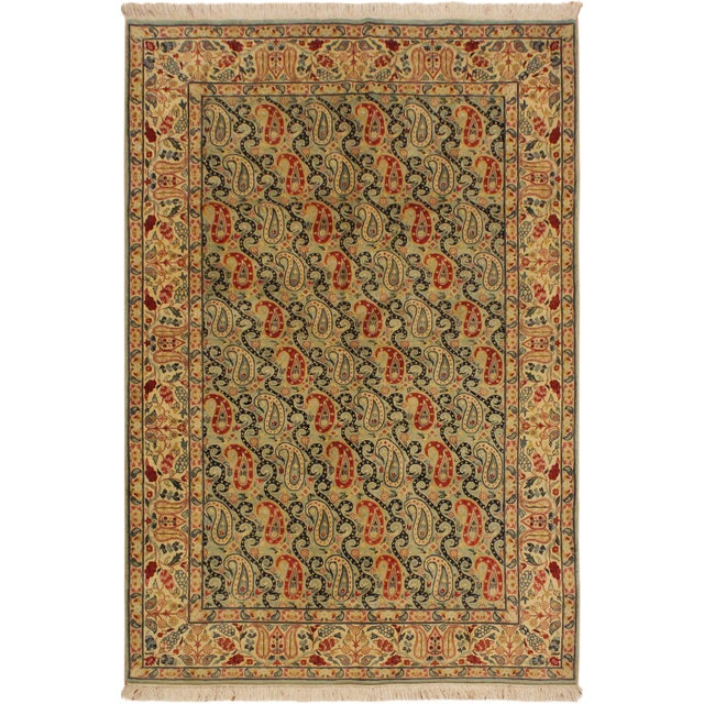 Green Shabby Chic Guhm Pak-Persian Pearline Lt. Green/Tan Wool Rug - 4'8 X 7'1 For Sale - Image 8 of 8