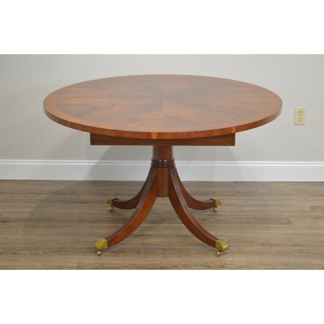 Hekman Flame Mahogany Yew Wood Banded Single Pedestal Dining Table For Sale - Image 10 of 13