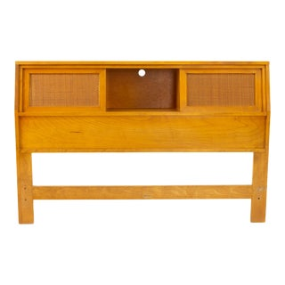 Russel Wright for Conant Ball Mid Century Blonde and Cane Full Queen Storage Headboard For Sale