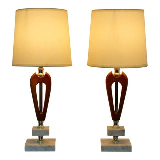 Mid Century Modern Small Italian Carrara Marble & Wood Table Lamps 1960s - a Pair For Sale
