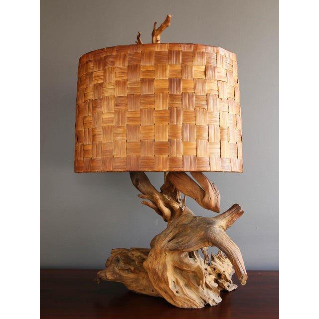 Driftwood Table Lamp with Woven Shade - Image 2 of 7