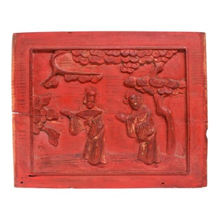 Antique Red Carved Panel, Official Friends For Sale