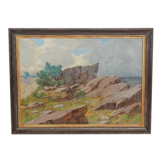 20th Century A. Gregers Rasmussen Coastal Landscape Oil Painting For Sale