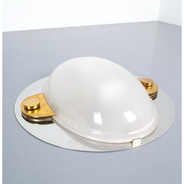 Gold Luigi Caccia Dominioni Flush Mounts or Sconces Brass Chrome Glass, Circa 1978 For Sale - Image 8 of 13