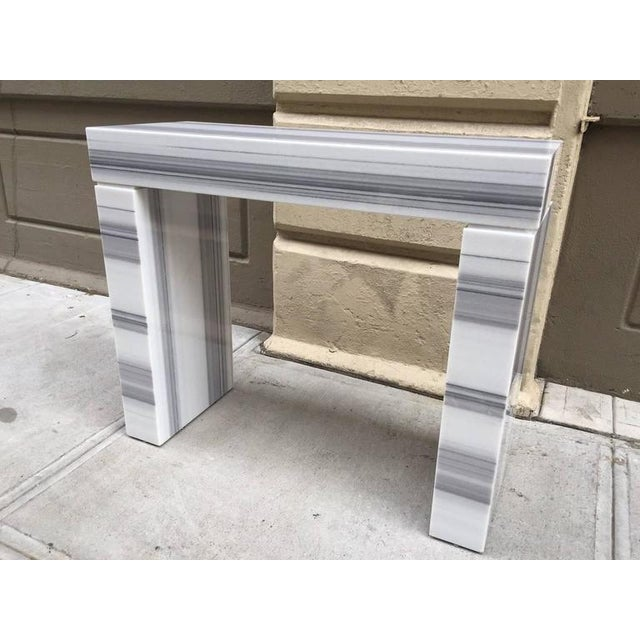 Carrara Marble Carrara Marble Console / Fireplace Mantel For Sale - Image 7 of 7