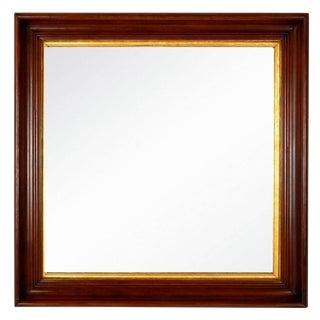 Antique Square Walnut Shadow Box Mirror