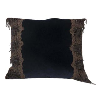 Navy Blue Velvet Pillow With Metallic Lace Decoration For Sale
