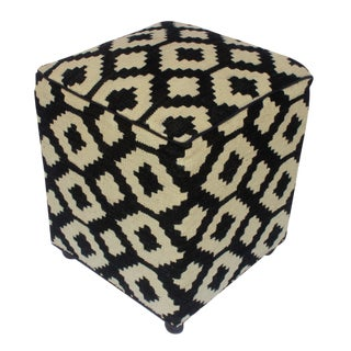 Arshs Domenica Black/Ivory Kilim Upholstered Handmade Ottoman For Sale