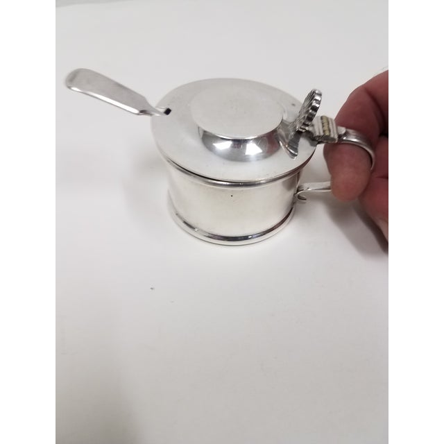 Antique Silverplate Mustard Pot With Spoon - 2 Pieces For Sale - Image 10 of 13
