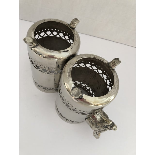 Wild Boar Double Bottle Holder, Silver Plate Rare For Sale - Image 9 of 10