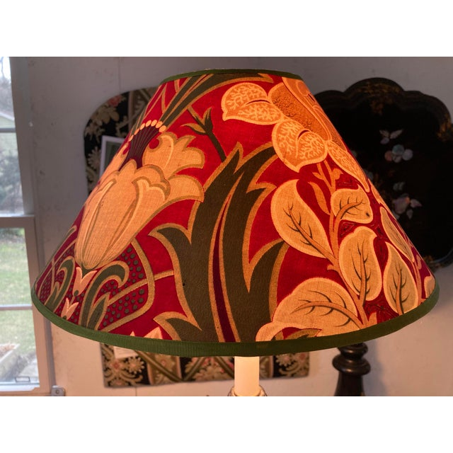 Art Nouveau Antique French Green and Red Printed Fabric Lampshade For Sale - Image 3 of 4