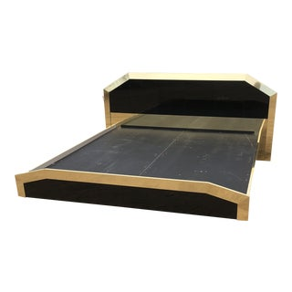 Black Glass & Brass Ello King Sized Floating Bedframe For Sale