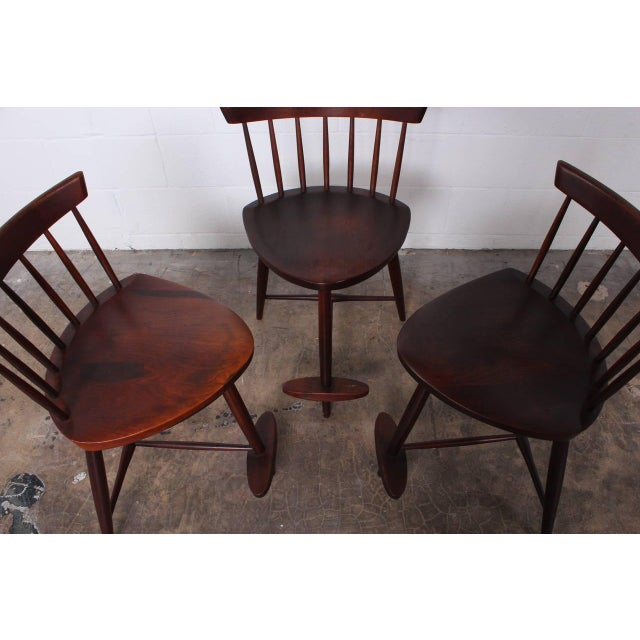 Set of Three Mira Barstools by George Nakashima For Sale - Image 10 of 10