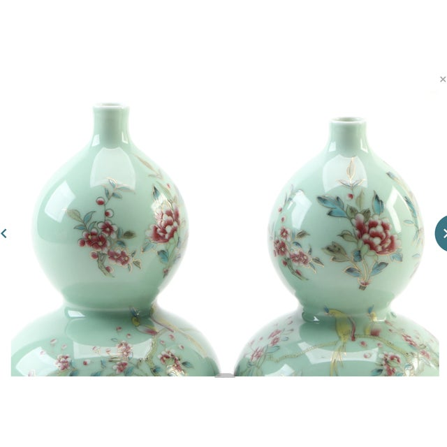Chinese Celadon Porcelain Double Gourd Vases With Hànzì and Floral Motif - a Pair For Sale - Image 12 of 13