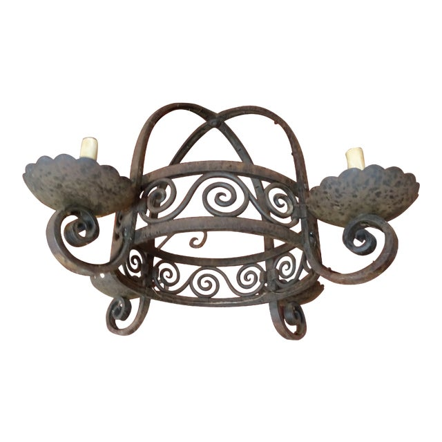 Vintage French Wrought Iron Chandelier For Sale