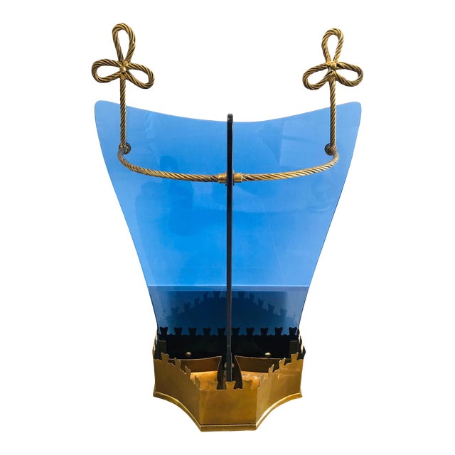 Italian Glass and Gilt Iron Umbrella Stand by Fontana Arte, 1950s For Sale