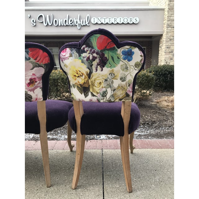 19th Century Antique Tufted Rococo Dining Side Chairs- Set of 6 Mohair With Designers Guild Floral Print For Sale - Image 10 of 13