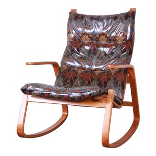 Ingmar Relling for Westnofa Scandinavian Modern Bentwood Teak Rocking Chair For Sale