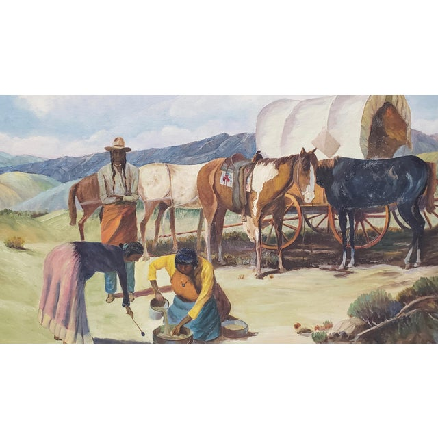 "Vintage American West Oil Painting ""Lunch Time"" by William Metter C.1940s For Sale In San Francisco - Image 6 of 11"