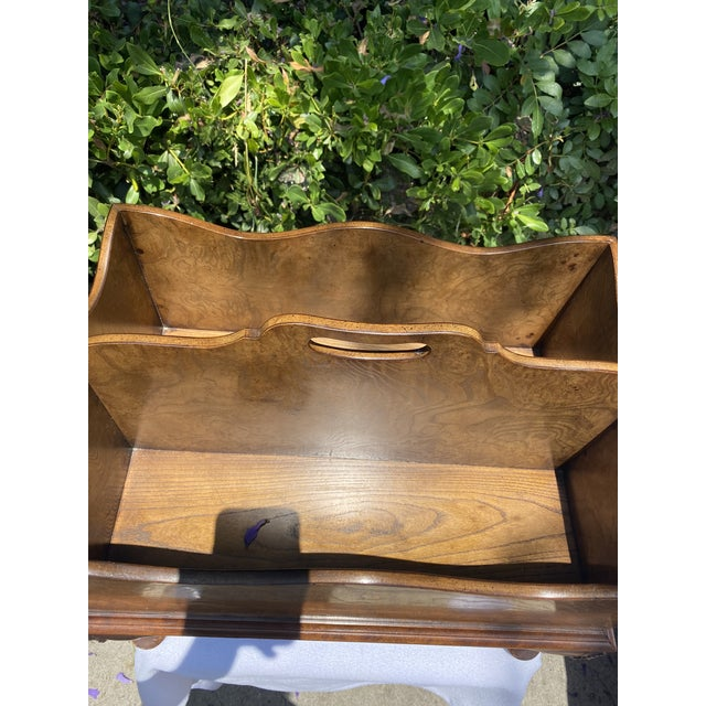 Queen Anne 1980s Baker Furniture Queen Anne Burl Wood and Mahogany Magazine Rack For Sale - Image 3 of 13