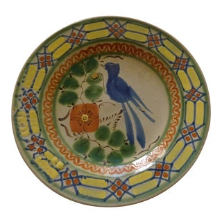 Blue Bird of Happiness Motif Hand Made Pottery Plate For Sale