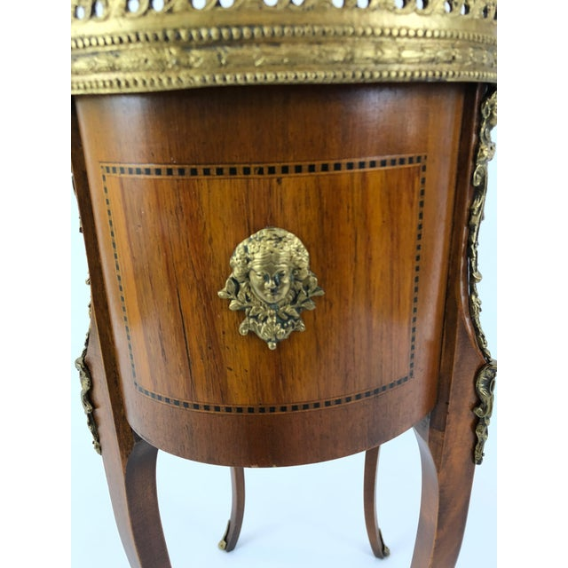 Exquisite Italian Kidney Shaped Inlay Mahogany Nightstand or End Table For Sale - Image 12 of 13