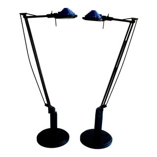 Vintage Vintage Luxo Concentrolite Black Base and Blue Shade Halogen Swing Arm Desk Lamps - a Pair For Sale