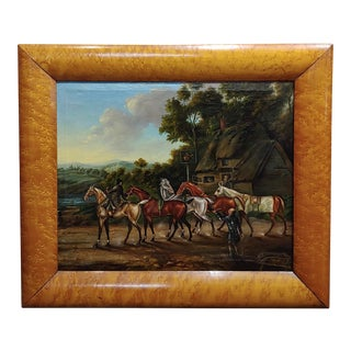 James Freeman -19th Century Racehorses at the Saddle Inn-Oil Painting For Sale