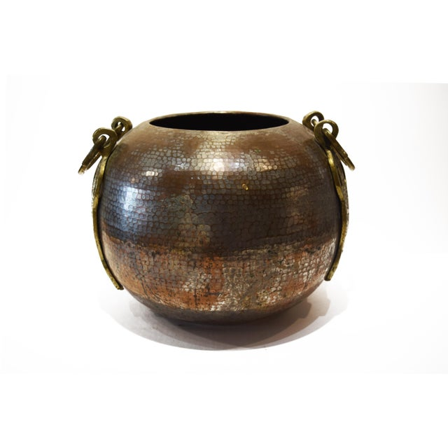 Turkish Tinned and Hammered, Copper Cauldron With Brass Handles For Sale - Image 9 of 9