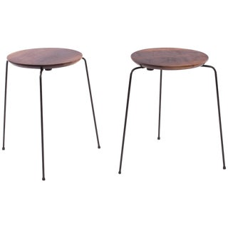 Solid Walnut and Iron Stackable Stools or End Tables For Sale