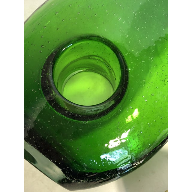 Blown Glass Modern Hand-Blown Green Glass Vase For Sale - Image 7 of 8