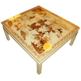 Custom Chinoiserie Paint Decorated Coffee Table For Sale