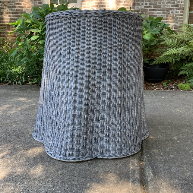 Trompe l'Oeil Round Top Draped Grey Rattan Side Table For Sale - Image 12 of 12