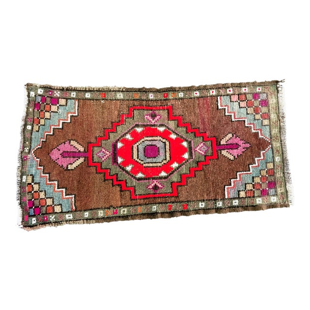 "1960's Vintage Distressed Turkish Anatolian Rug-1'7'x3'2"" For Sale"