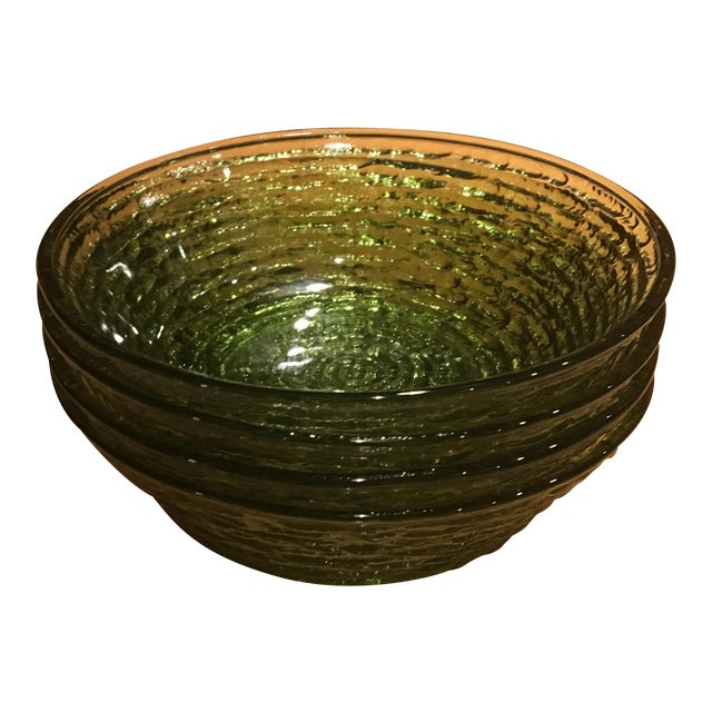 Vintage Libbey Rock Sharpe Olive Green Bowls - Set of 4 For Sale