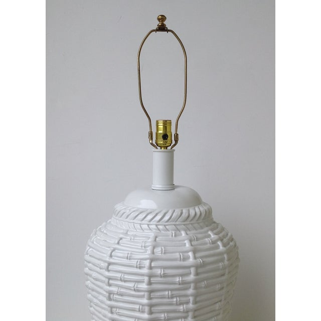 Faux Bamboo Large Bulbous Lamp - Image 4 of 10
