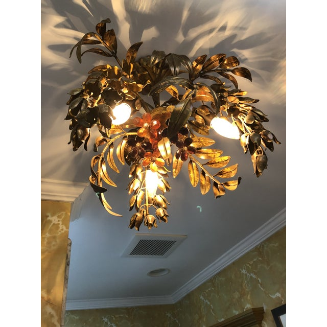 Orange Maison Bagues Style 3 Light Flush Mount Gilded Wrought Iron and Crystal Chandelier For Sale - Image 8 of 10
