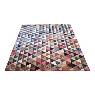 Late 19th Century Antique American Patchwork Triangle Quilt For Sale