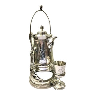 Victorian Silver Plate Tilting Ice Water Pitcher on Stand With Cup by Wilcox - Set of 2 For Sale
