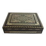 Image of Vintage Mid Century Wooden Marquetry Inlaid Box For Sale
