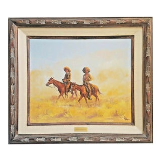 "1970s Vintage Signed Buck McCain ""South of the Rio Grande"" Framed Painting For Sale"