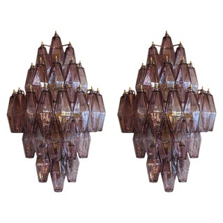 1970s Murano Amethyst Polyhedron Glass Sconces - a Pair For Sale