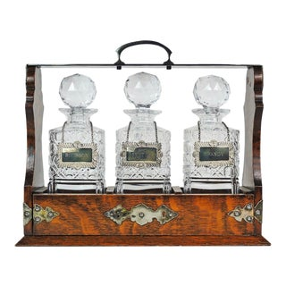 Oak Tantalus With Crystal Decanter Set With Sterling Silver Labels For Sale